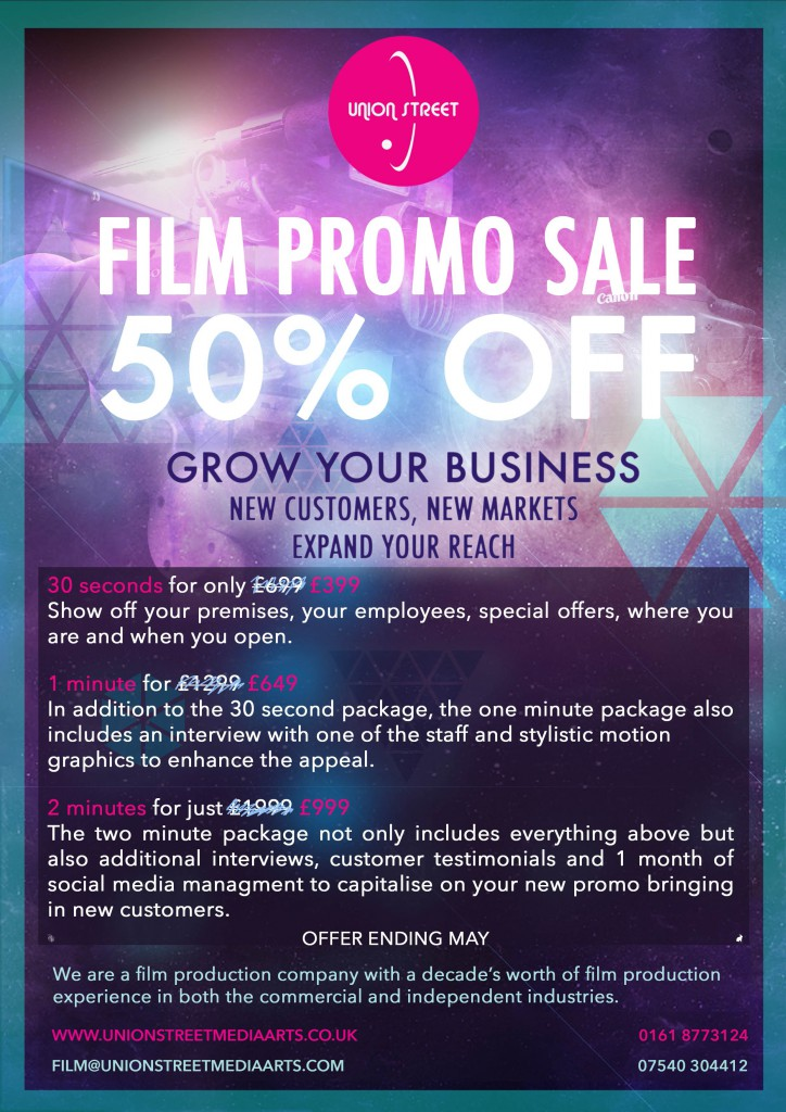 Film promo 50% discount off film production at Union Street Media Arts in Manchester